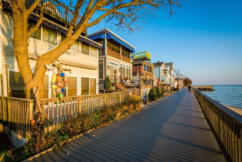 Дома и променад портового района в северном пляже, Мэриленде стоковое фото
