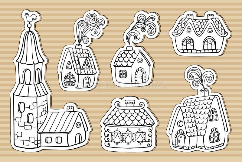Дома кабеля феи картона маленькие бесплатная иллюстрация
