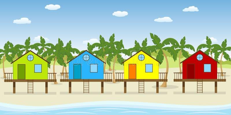 Дома на пляже бесплатная иллюстрация