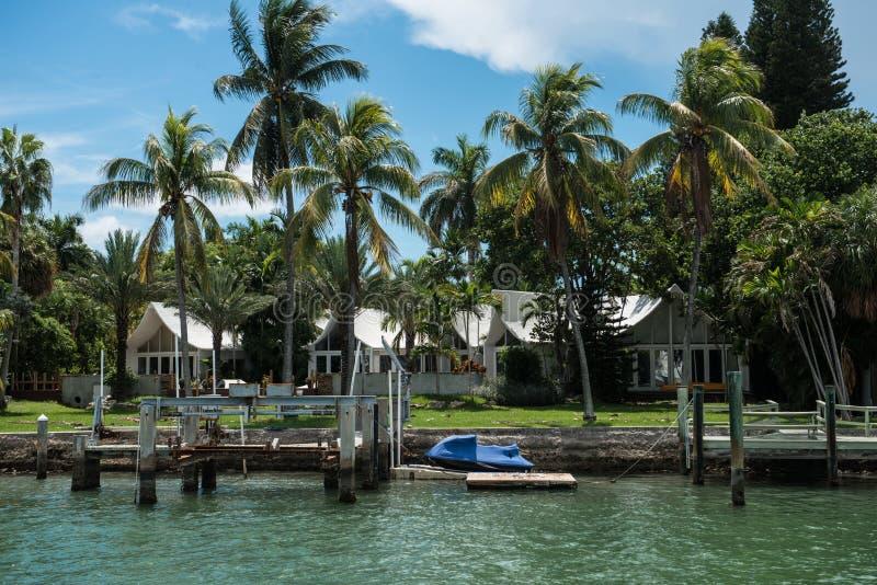 Дома океана частные с ладонями и пристанями в Miami Beach, Флориде, США стоковые фотографии rf