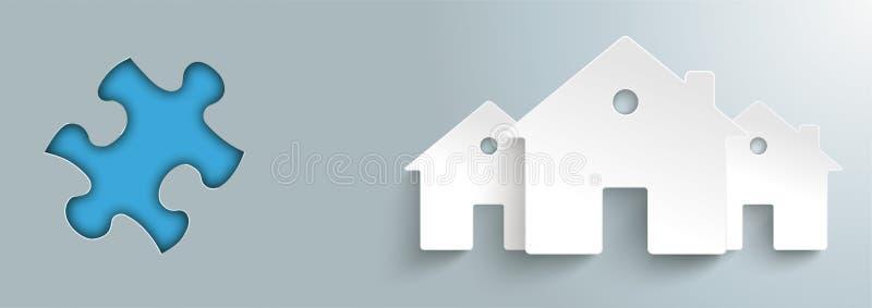 Дома отверстия 3 головоломки бумажные бесплатная иллюстрация