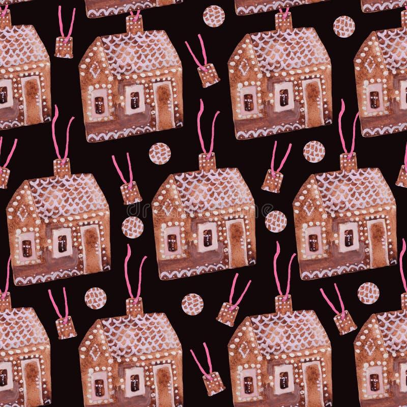 ` Дома пряника ` картины рождества безшовное иллюстрация штока