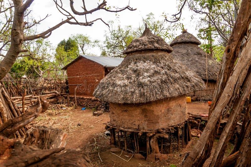 Дома племени Konso стоковые фотографии rf