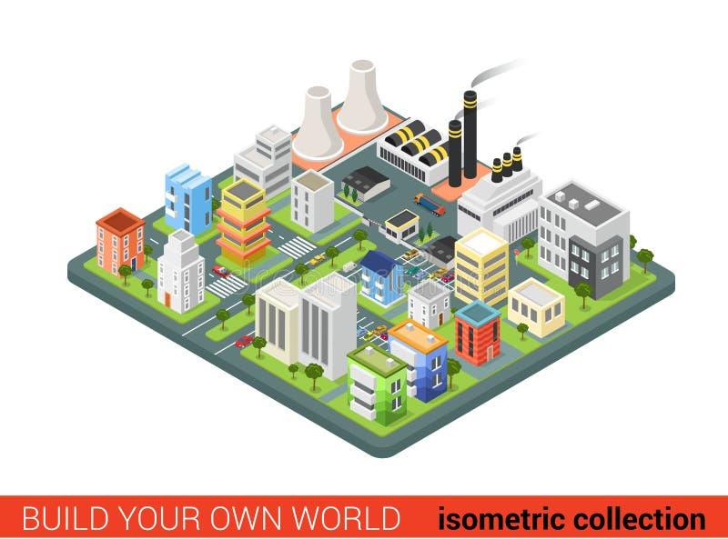 Дома плоской равновеликой энергии силы города вектора 3d промышленные иллюстрация штока