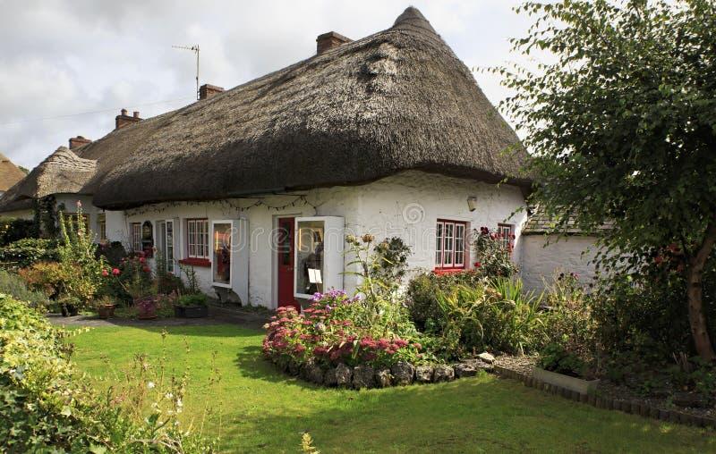 Дома с соломенной крышей первой половины девятнадцатого стоковое фото
