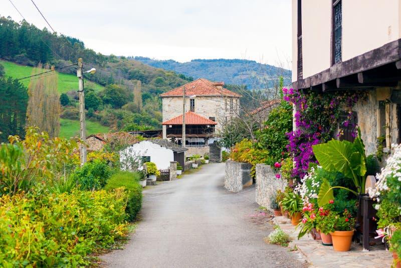 Дома украшенные с цветками в деревне Сан Marcelo Samarciellu в Астурии стоковое изображение