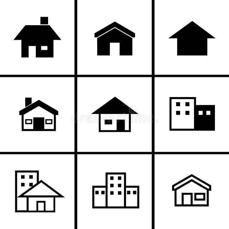 Дома 9 установленных значков иллюстрация вектора