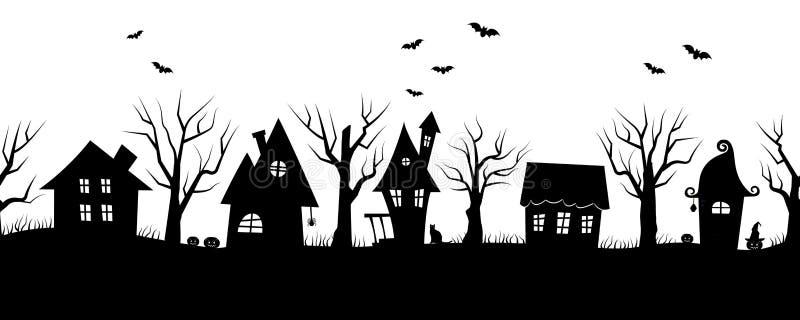Дома хеллоуина Пугающая деревня Безшовная граница иллюстрация вектора