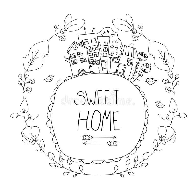 Дома чертежа с цветками иллюстрация штока