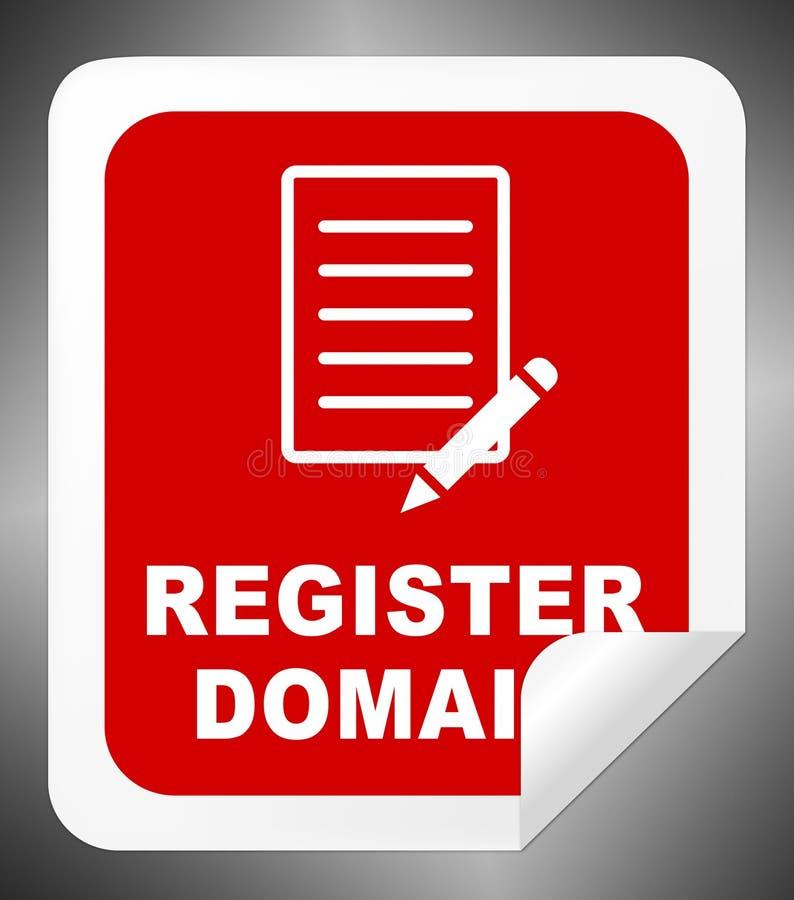 Домен регистра показывает подписывает вверх иллюстрацию 3d иллюстрация штока
