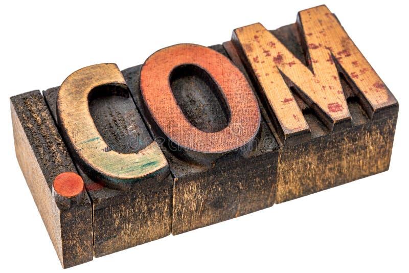 Домен .com в деревянном типе стоковая фотография
