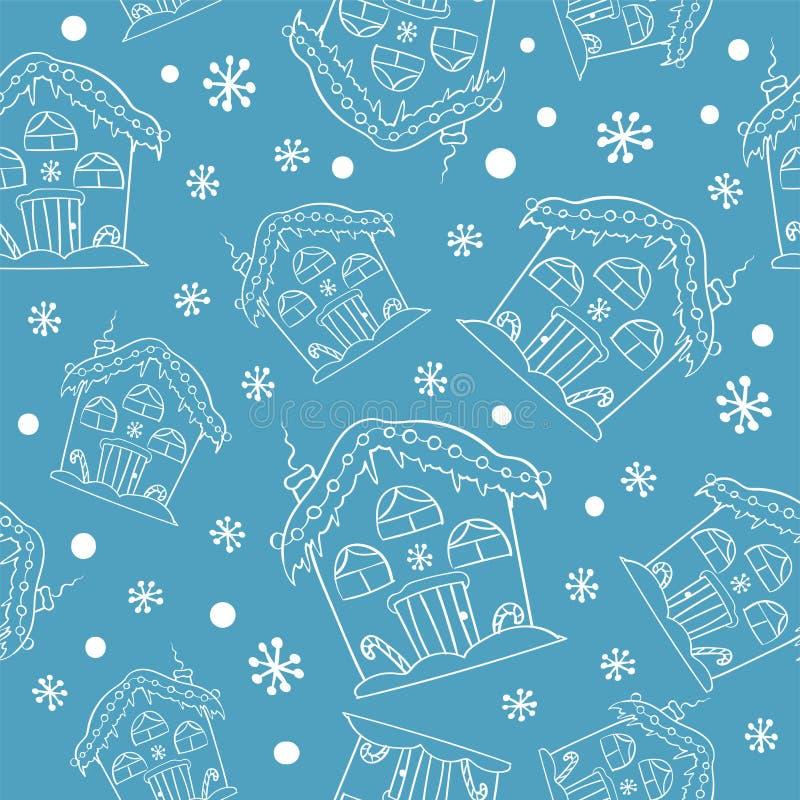 Домов рождества руки картина вычерченных безшовная Милая предпосылка домов Выгравированная иллюстрация стиля иллюстрация штока