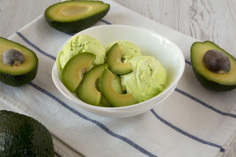 Домодельное вкусное мороженое в шаре, взгляд авокадоа взгляда низкого угла closeup стоковая фотография rf