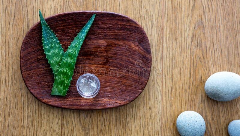 Домодельное skincare на мастерской красоты с свежим органическим алоэ vera стоковые фото
