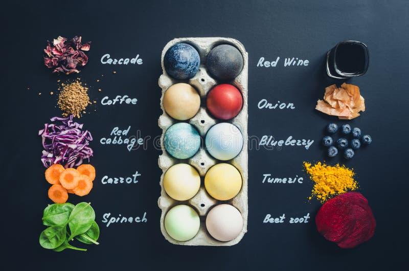Домодельные естественно покрашенные пасхальные яйца стоковые изображения