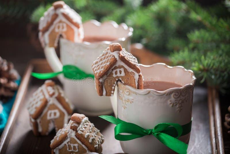Домодельные коттеджи пряника с сладостным питьем как закуска рождества стоковые фотографии rf