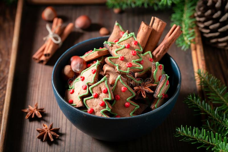 Домодельные печенья в форме рождественской елки с pinecone стоковые фото