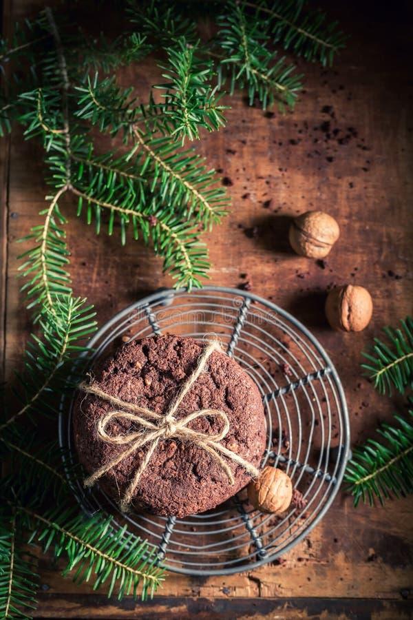 Домодельные печенья шоколада как малая закуска рождества стоковые изображения rf