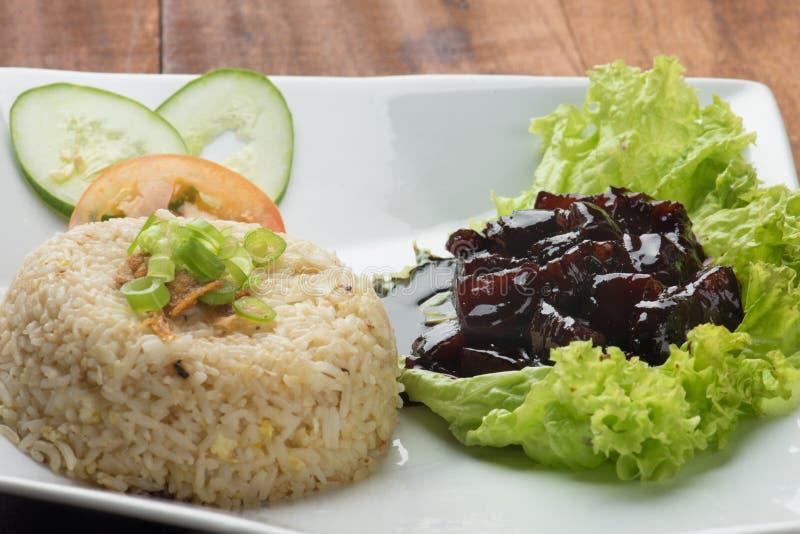 Домодельные Braised свинина и рис в коричневом соусе стоковое фото rf