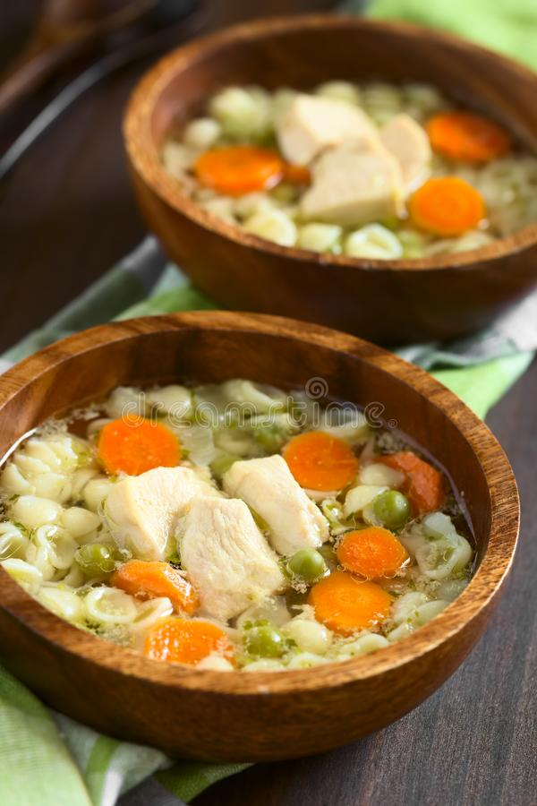Домодельный куриный суп с горохом, морковью и макаронными изделиями раковины стоковое изображение rf