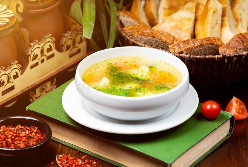 Домодельный овощной суп цыпленка стоковые фото