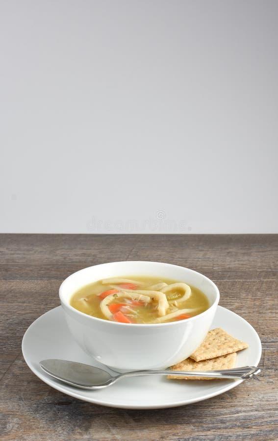 Домодельный суп лапши цыпленка с ложкой и всем saltine зерна стоковая фотография