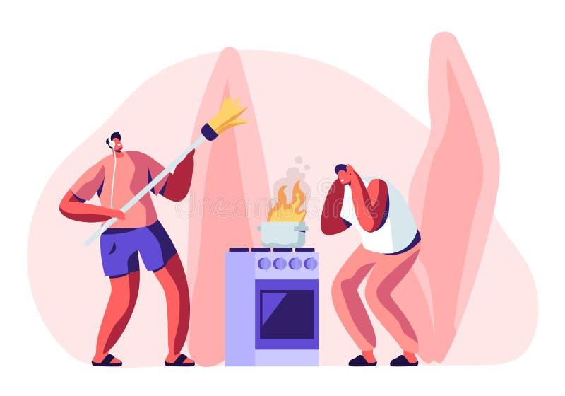 Домоустройство мужского характера домочадца Устрашенная стойка человека на печи с горя огнем в лотке, Гай в музыке шлемофона слуш иллюстрация штока