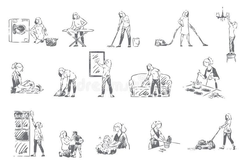 Домоустройство, эскиз концепции рутинных работ по дому бесплатная иллюстрация