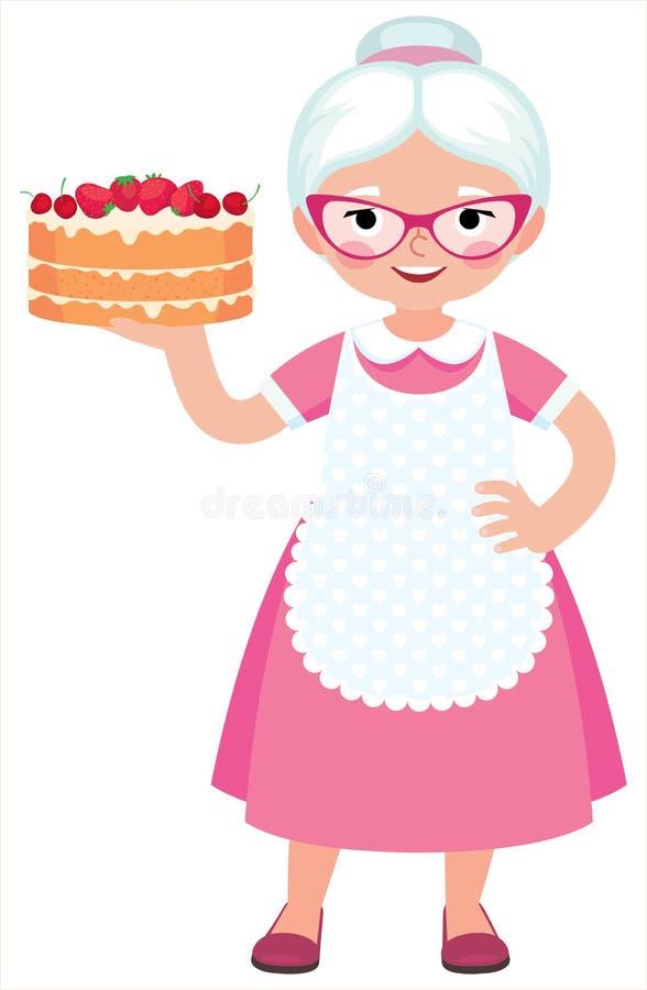 Домохозяйка бабушки внутри во всю длину держит испеченный красивый торт иллюстрация штока