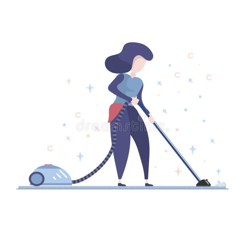 Домохозяйка используя пылесос бесплатная иллюстрация