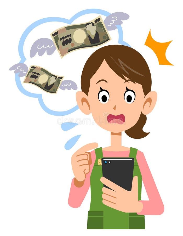 Домохозяйка, мама, женщина которая удивлена на гонораре для пользы сотового телефона иллюстрация вектора