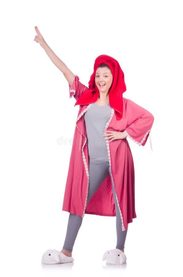 Домохозяйка после принимать ливень стоковые фотографии rf