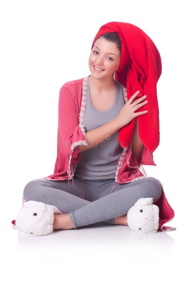 Домохозяйка после принимать ливень стоковая фотография rf
