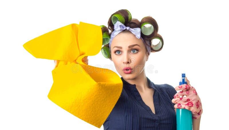 Домохозяйка с ветошью стоковые фотографии rf
