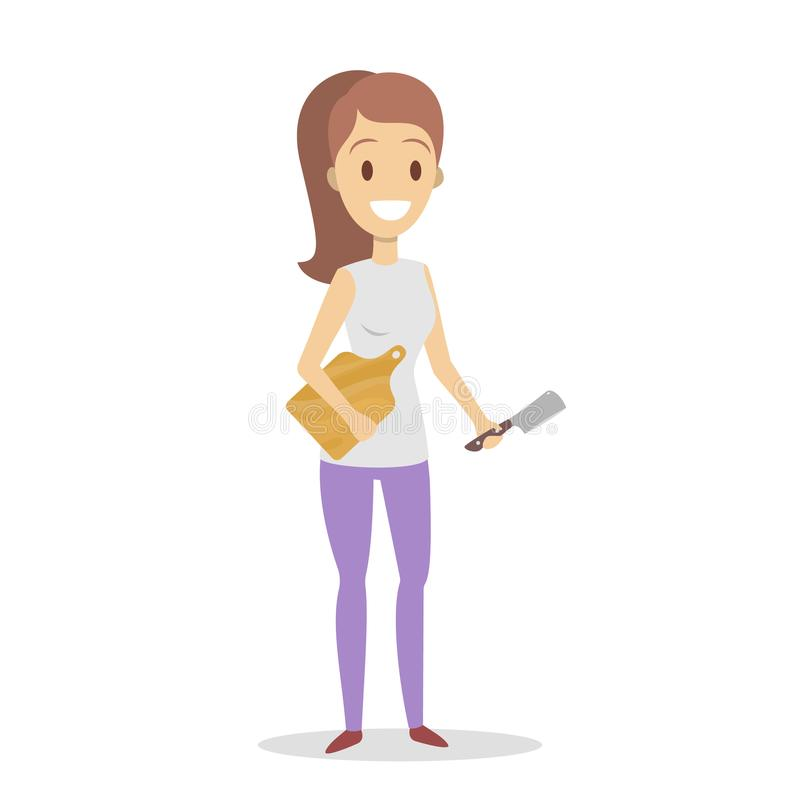 Домохозяйка с ножом и разделочная доска бесплатная иллюстрация