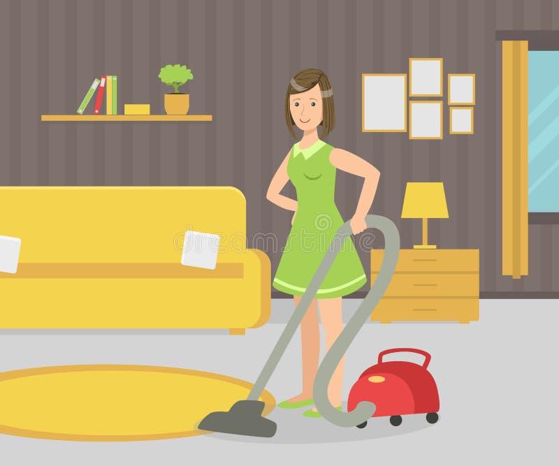 Домохозяйка с пылесосом, иллюстрацией вектора комнаты прожития молодой женщины вакуумируя иллюстрация вектора