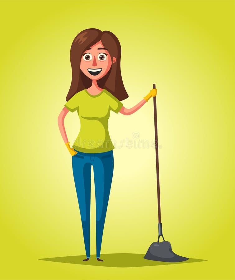Домохозяйка с mop Тема чистки alien кот шаржа избегает вектор крыши иллюстрации иллюстрация вектора