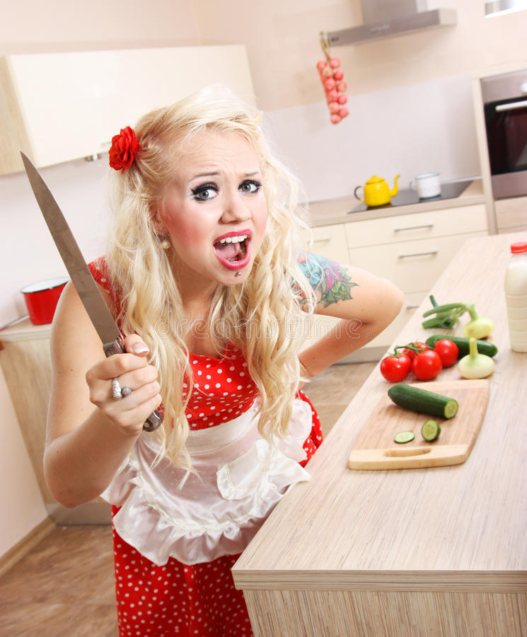 домохозяйка angr шальная стоковые фотографии rf
