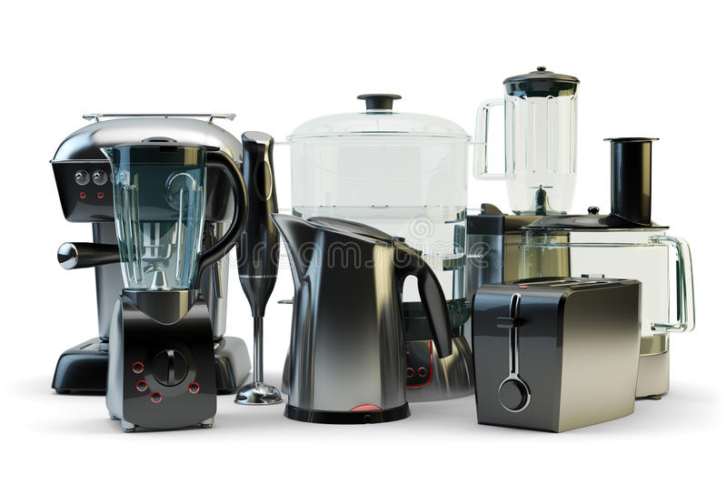 Домочадец и кухонные приборы, отечественная электроника и kitchenware иллюстрация вектора