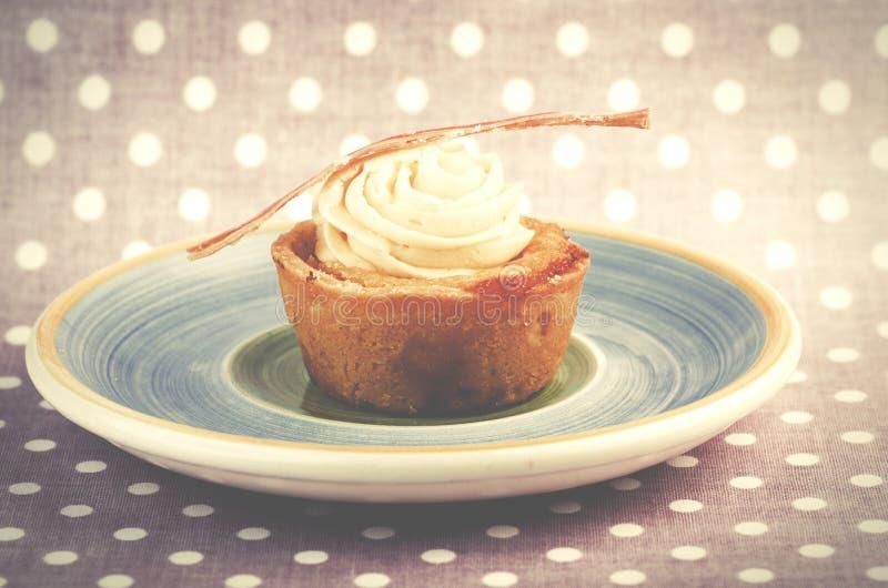 Домодельное ванильное пирожное на плите Предпосылка поставленная точки пинком стоковые фотографии rf