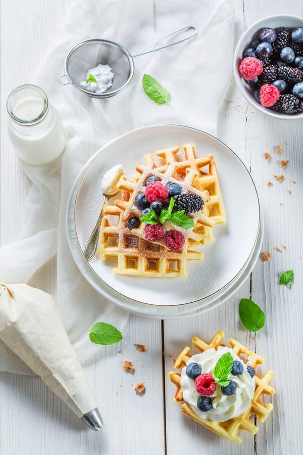 Домодельные сладостные waffles с плодоовощами ягоды и взбитой сливк стоковое фото rf