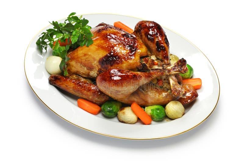 Домодельный индюк жаркого, рождественский ужин благодарения стоковые фотографии rf