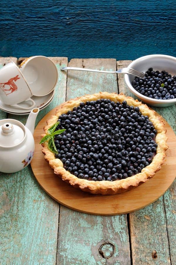 Домодельный открытый пирог голубики с свежими органическими одичалыми голубиками стоковая фотография