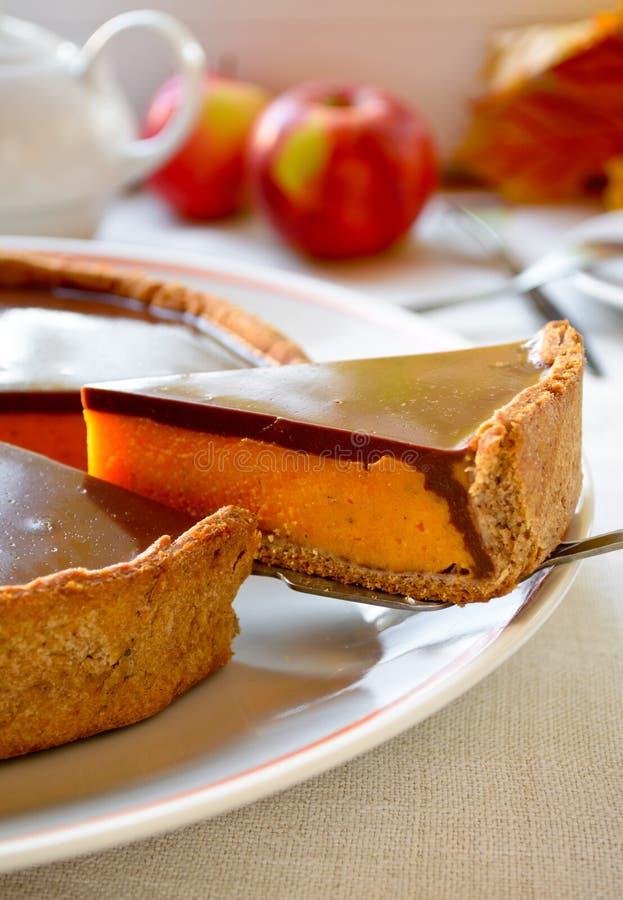 Домодельный пирог тыквы с отбензиниванием шоколада стоковое изображение rf