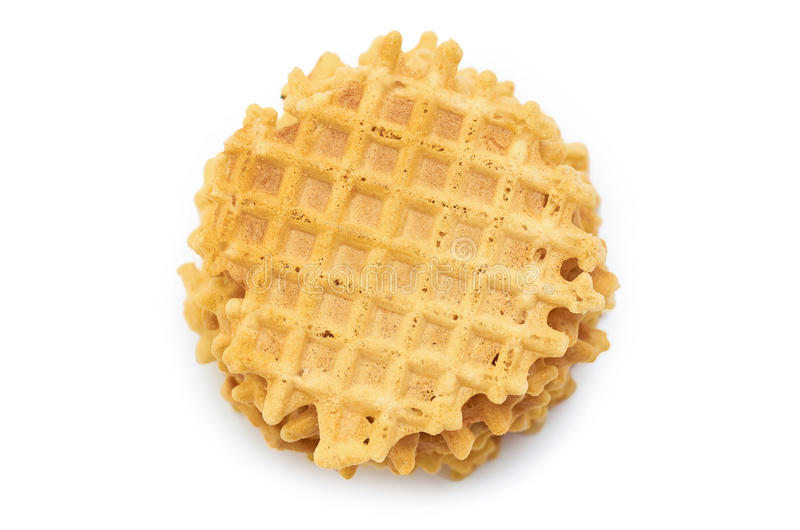Домодельный хрустящий Waffle белизна изолированная предпосылкой стоковое фото rf