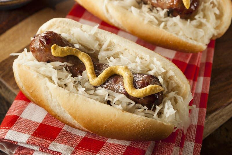 Download Домодельный Bratwurst с Sauerkraut Стоковое Изображение - изображение насчитывающей нездорово, зажжено: 41657691