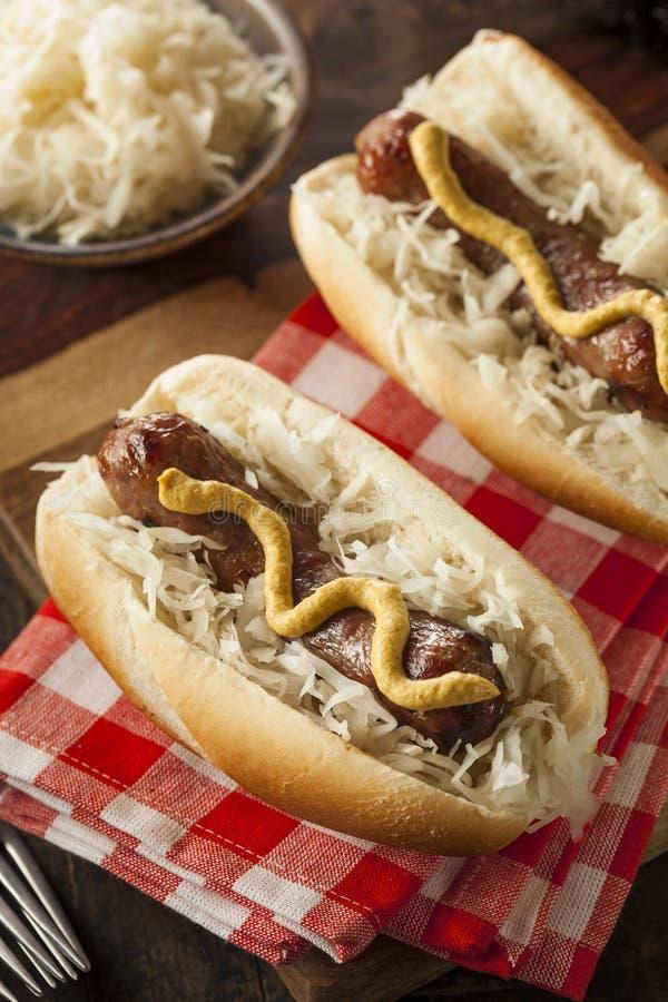 Download Домодельный Bratwurst с Sauerkraut Стоковое Фото - изображение насчитывающей плюшка, bedroll: 41657760