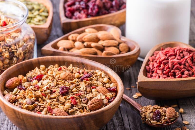Домодельный granola с молоком, ягодами, семенами и гайками стоковая фотография rf