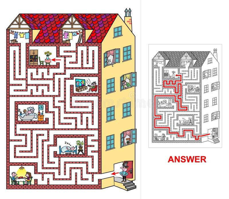 Дом - лабиринт для детей (легких) иллюстрация вектора