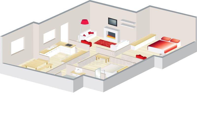 дом архитекторов квартиры 3d floorplan иллюстрация штока